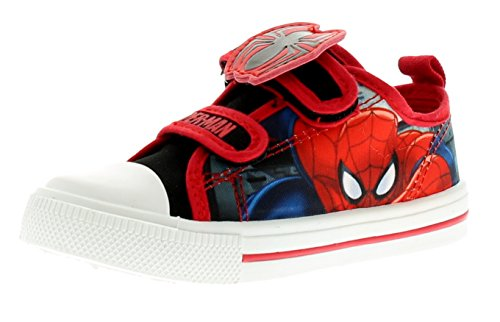 NEU jüngeres Jungen/Kinder rot/blau Spiderman Leinenschuhe - rot/blau - UK Größen 1-13