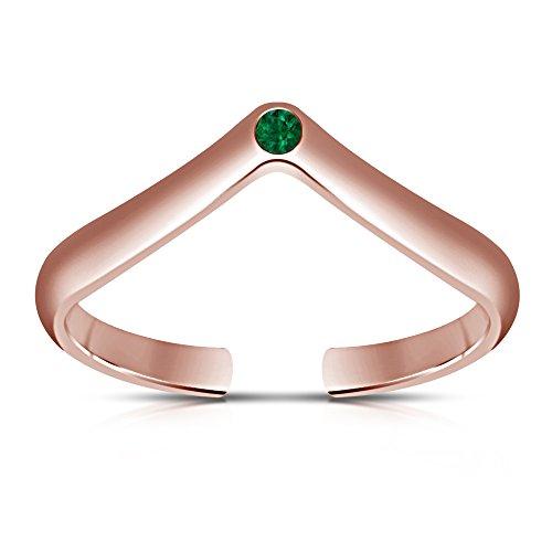 TVS-JEWELS 925 Silver Round Green Sapphire Tiara Disney Princess Wedding Engagement Toe Ring , Mid Ring (Pink) by TVS-JEWELS