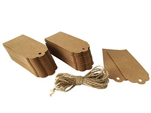 120 x Geschenk Anhänger, Hängeetiketten, Anhängeetiketten, Etiketten, Schilder, 45 x 95 mm, mit 300 cm Hanfseil