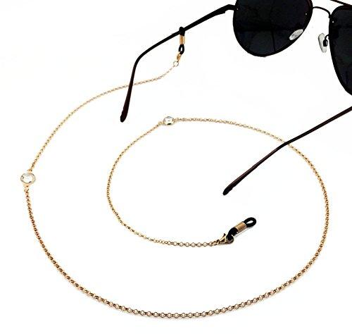 Ababalaya Vintage Strap Anti-Skid Eyeglass Cord Metal Sunglasses Thin Chain,222Gold (Trap Strap)