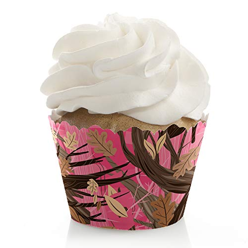 Pink Gone Hunting - Deer Hunting Girl Camo Baby Shower or Birthday Party Decorations - Party Cupcake Wrappers - Set of 12