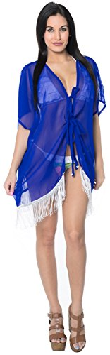 La Leela Cardigan Chiffon Lightweight Caftan Swimsuit Robe Beach Kimono Cover ups Blue