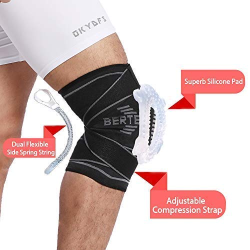 b6d518654d BERTER Knee Brace for Men Women - Compression Sleeve Non-Slip for Running,  Hiking, Soccer, Basketball for Meniscus Tear Arthritis ACL Single Wrap  (Silicone ...