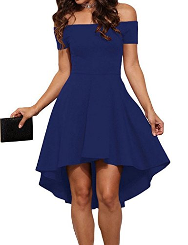 OURS Womens Sexy Short Sleeve Mini Fit and Flare Bridesmaid Dress (S, Blue) (Teen Sexy Dress)