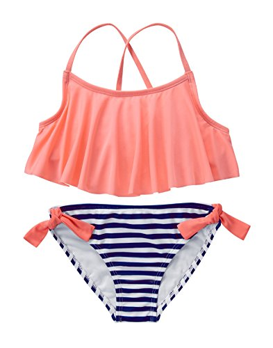 679f32664e Crazy 8 Big Girls  Neon Nvy Strp Bikini Neon and Navy Stripe Bikini