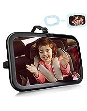 FACIACC babyautospiegels voor achterbank, 360 ° rotatie achteruitkijkspiegel autostoel spiegel Veiligste onbreekbare babyspiegel om naar achteren gerichte baby's, kinderen en kinderen te zien