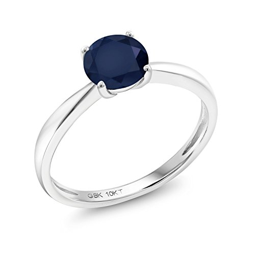 Gem Stone King 1.00 Ct Round Blue Sapphire 10K White Gold Solitaire Ring (Size 6)