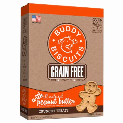 Grain Free Oven Baked Buddy Biscuits Dog Treats, Homestyle Peanut Butter, 14-Ounce, Pack of 12