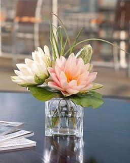 Lotus Blossom Lily Pad Silk Flower Arrangement