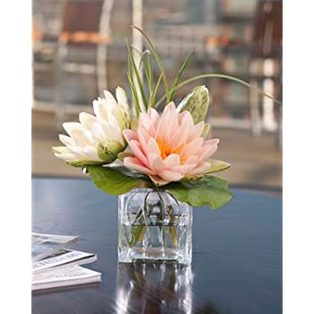 Amazon lotus blossom lily pad silk flower arrangement home lotus blossom lily pad silk flower arrangement mightylinksfo