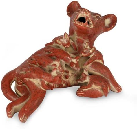 NOVICA Red Archaeological Ceramic Figurine, 6 Tall, Colima Dog with Puppies