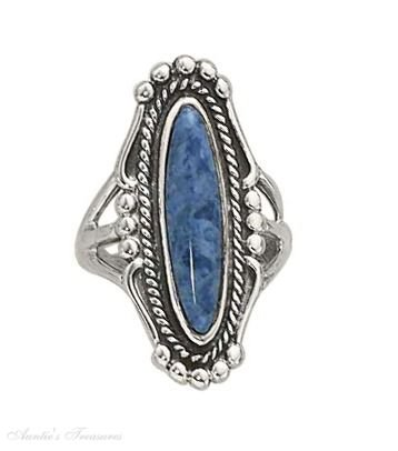 Sterling Silver Long Oval Simulated Denim Lapis Ring Size (Denim Lapis Ring)