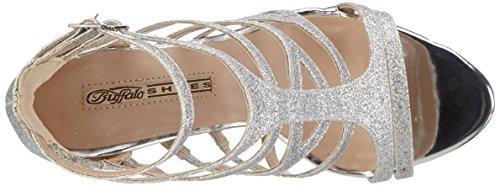 Buffalo Shoes 16s15-6 Glitter, Sandalias con Cuña para Mujer Plateado (SILVER)
