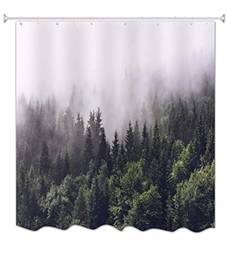 A.Monamour Green Trees Foggy Misty Forest Woods Wild Mountain Nature Scenery Print Waterproof Fabric Polyetser Non PVC Shower Curtain for Bath Accessories 150X180 cm / 60