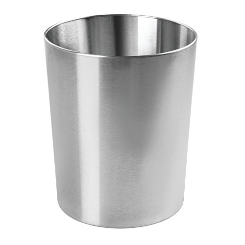 mDesign Round Metal Small Trash Can Wastebasket, Garbage Container Bin for Bathrooms, Powder Rooms, Kitchens, Home Offices - Durable Polished Stainless Steel