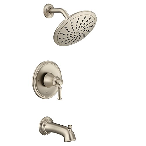 Moen T2283EPBN Dartmoor Tub Shower Faucet System with Rainshower Showerhead without Valve, Brushed Nickel