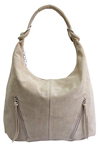Women's Leather Tote Bag Suede Handbag Shoulder Bag Bucket Bag Hobo Bag Large WL822 Beige Sand