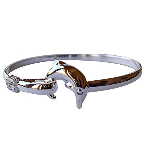 Yves Renaud Hypoallergenic Two Tone Polished Silver Dolphin Charm Bangle Bracelet for Women, Girls