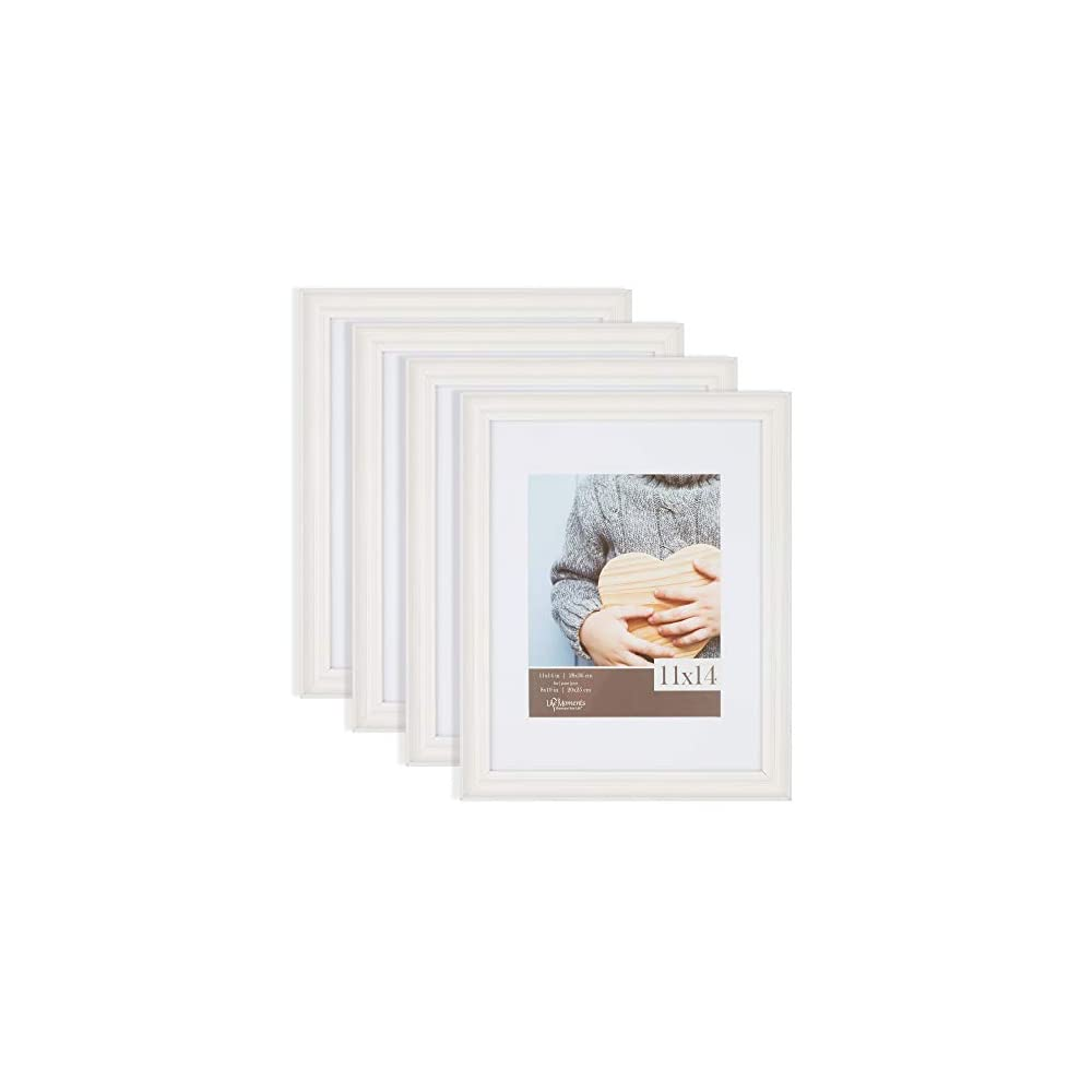 Life Moments 11x14 Matted to 8x10 Farmhouse Distressed White Tabletop or Wall Mount Picture, Set of 4 Frame Sets