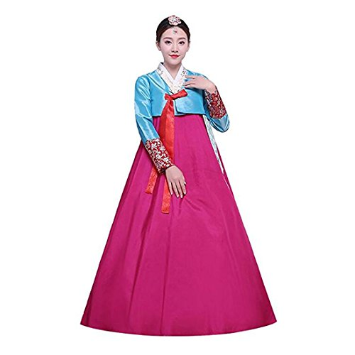 Korean Dance Costume (Ez-sofei Women's Korean Traditional Costumes Hanbok Dancing Dresses (M, C-Blue&Rose Red))