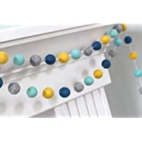"""Turquoise, Peacock, Gray, Golden Felt Ball Garland- 1"""" (2.5 cm) Wool Felt Balls"""