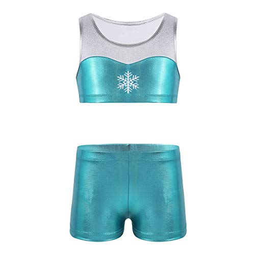 Alvivi Kids' Girls' 2 Piece Polka Dot Sports Strappy Crop Top Bra and Shorts Set for Gymnastics Leotard or Swimwear (3-4, Shiny Snowflake Blue)