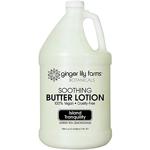 Ginger Lily Farms Botanicals Island Tranquility Soothing Butter Lotion, 100% Vegan, Paraben, Sulfate, Phosphate, Gluten & Cruelty-Free, 1 gallon