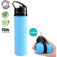 Collapsible Silicone Water Bottles Foldable Squeeze Sports Bottle Leak-Proof FDA Approved BPA Free Eco - Friendly for Outdoors Camping Biking and Traveling 20 OZ