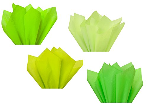Neon Lime Green Assorted Mixed Color Multi-Pack Tissue Paper for Flower Pom Poms Art Craft Decor Wedding Bridal Baby Shower Party Gift Bag Basket Filler Decoration (120 Sheets, 15