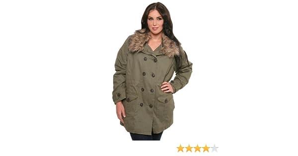 35c5560476b Amazon.com  Army Green Twill with Fur Trim Jacket  Clothing