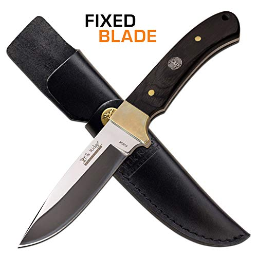 Elk Ridge Evolution - Outdoors Fixed Blade Hunting Knife - Satin Finish Drop Point Blade with Black Pakkawood Handle and Leather Sheath - Full Tang Razor - Blade Pakkawood Handle