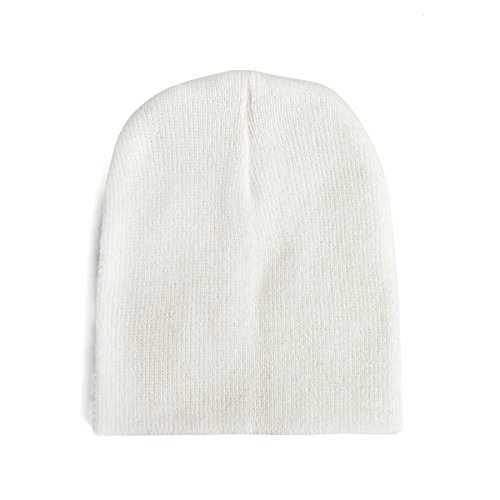 - Opromo Baby Beanie Cap Unisex Kids Soft Warm Toddler Daily Knit Cap, 0-4 Years-White