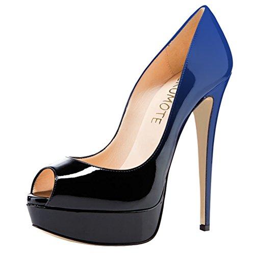Merumote Dames Hoge Hakken Platform Schoenen Peep Toe Pumps Voor Jurk Bruiloft Gradiënt Blauw Zwart