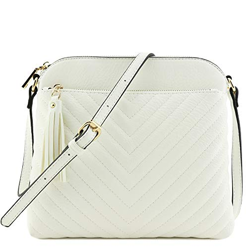 Chevron Quilted Medium Crossbody Bag with Tassel Accent (White)