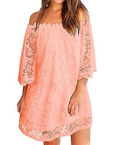 - ZANZEA Women's Sexy Off Shoulder Lace Ruffle Sleeve Blouse Mini Dress Light Pink L