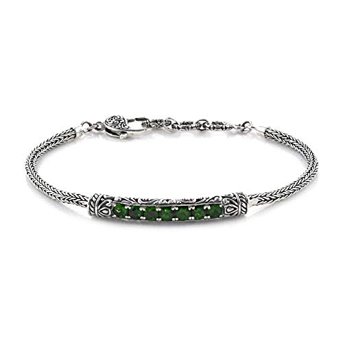 """Bracelet 925 Sterling Silver Round Chrome Diopside Gift Jewelry for Women Size 8"""" Ct 1.6"""