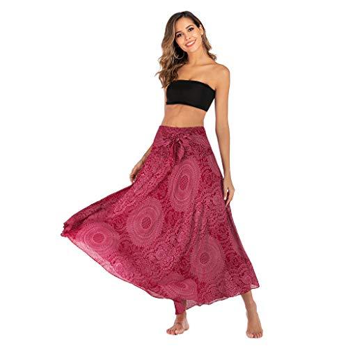 Oufenli Women Sling Dresses Sexy Halter Wrinkle Print Boho Elastic Waist Two Wear Bow Tie Skirt Hot - Bodystocking Bow Tie