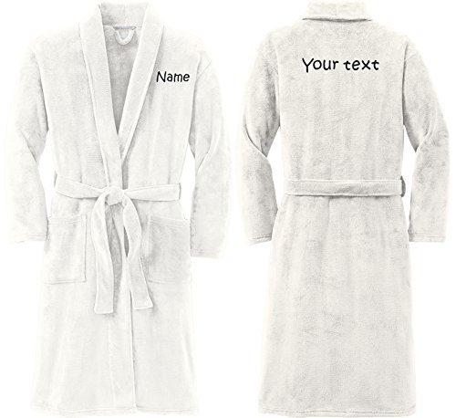 Personalized Plush Microfleece Robe with Embroidered Name & Back, Marshmallow, Large/X-Large