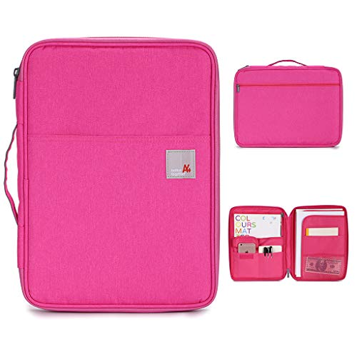 BTSKY New Universal A4 Document Bags Portfolio Organizer- Waterproof Travel Gear Organizer Zipper Case/Document File Bag for Ipads, Notebooks, Pens, Document Rose