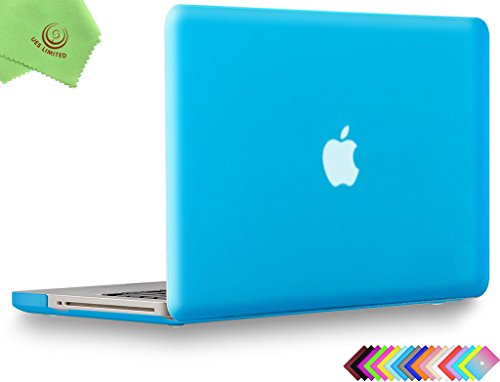 UESWILL Smooth Soft-Touch Matte Hard Shell Case Cover for MacBook Pro 13 inch with CD-ROM (Non-Retina) (Model A1278) + Microfibre Cleaning Cloth, Aqua Blue