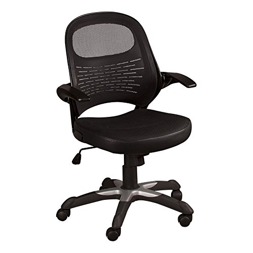 Norwood Commercial Furniture Mesh Back Office Chair with Flip-Up Arms, Black, NOR-IAH1037-SO