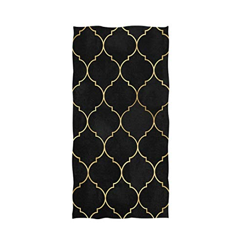 Naanle Black Watercolor Moroccan Gold Line Vintage Decorative Soft Absorbent Guest Hand Towels Multipurpose for Bathroom, Hotel, Gym and Spa (16 x 30 Inches)