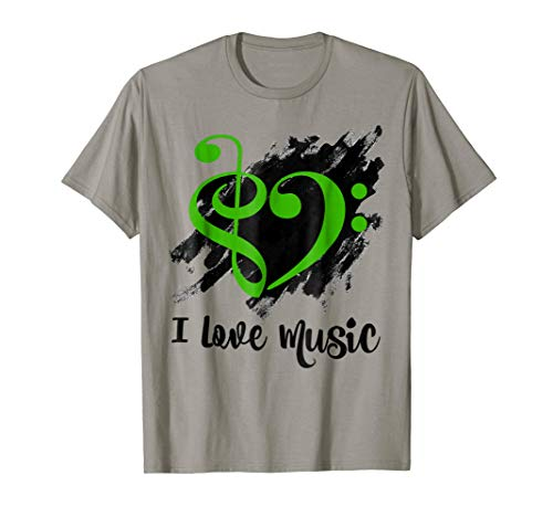 Treble Clef Bass Clef Kelly Green Heart I Love Music Bassist T-Shirt
