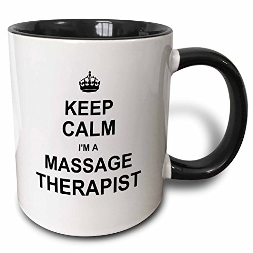 3dRose 194471_4 Keep Calm I'm A Massage Therapist - Funny Profession Gift - Work Pride Ceramic Mug 11oz Black/White