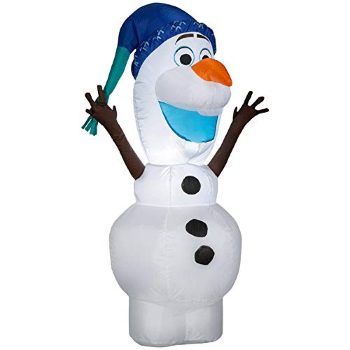 Gemmy Inflatable Olaf in Blue Christmas Hat Indoor/Outdoor Holiday Decoration - 3.5Ft. Tall -