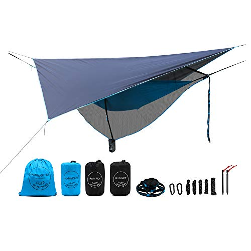 LAZZO Camping Hammock Set All-Inclusive,Single Hammock,Bug Net,Tarp,Suspension,Guyline,Stakes and Backpack,Perfect for Backpacking,Camping,Hiking Yard