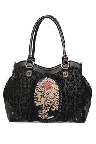 Gebannt beflockt One Cameo Black Rose Handtasche Lady Schädel Size schwarz ggxwBZr