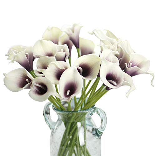 Artificial Flowers, Fake Flowers Artificial Calla Lily Bridal Wedding Bouquet for Home Garden Party Wedding Decoration 12Pcs (Purple&White) from CQURE