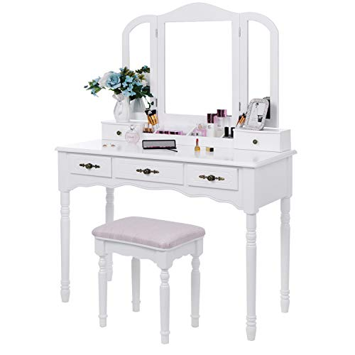 BEWISHOME Vanity Set Makeup Dressing Table and Cushioned Stool, Large Tri-Folding Mirror, 5 Drawers, 2 Dividers, Desktop Makeup Organizer Makeup Vanity Desk for Girls Women White FST06W