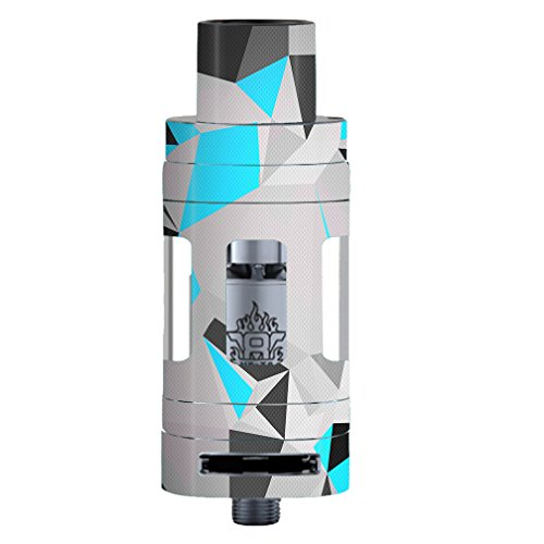 Skin Decal Vinyl Wrap for Smok TFV8 Tank Vape Mod stickers skins cover/ Baby Blue Grey Glass Design